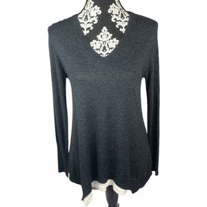 Kokun Sweater Layered V Neck Gray Cashmere Blend
